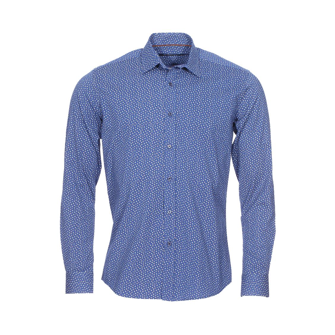 Chemise cintrée  en coton bleu marine à fleurs blanches et marrons