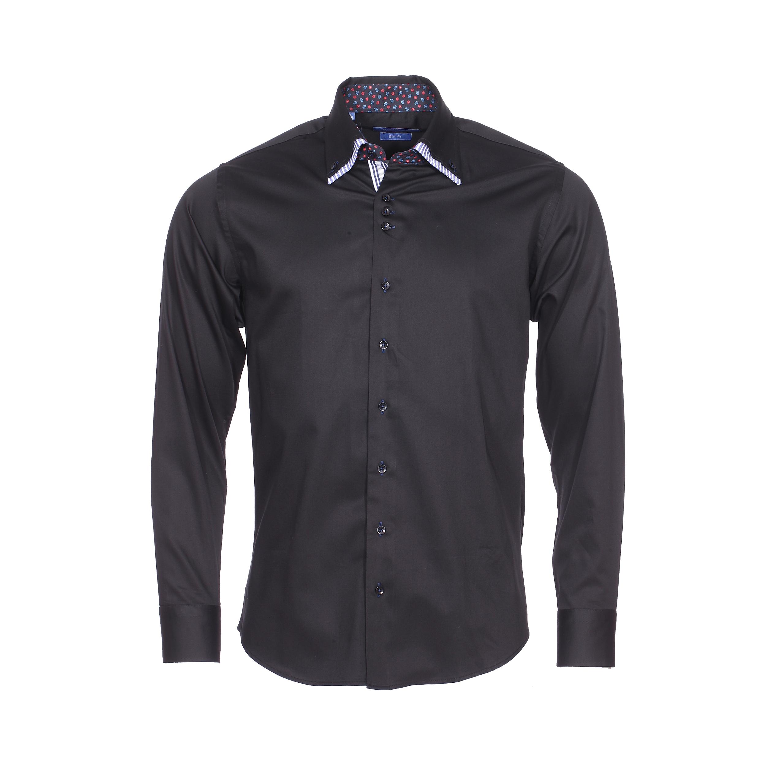 Chemise cintrée  en coton noir à double col américain : 1 col noir et 1 col bleu indigo rayé de blanc