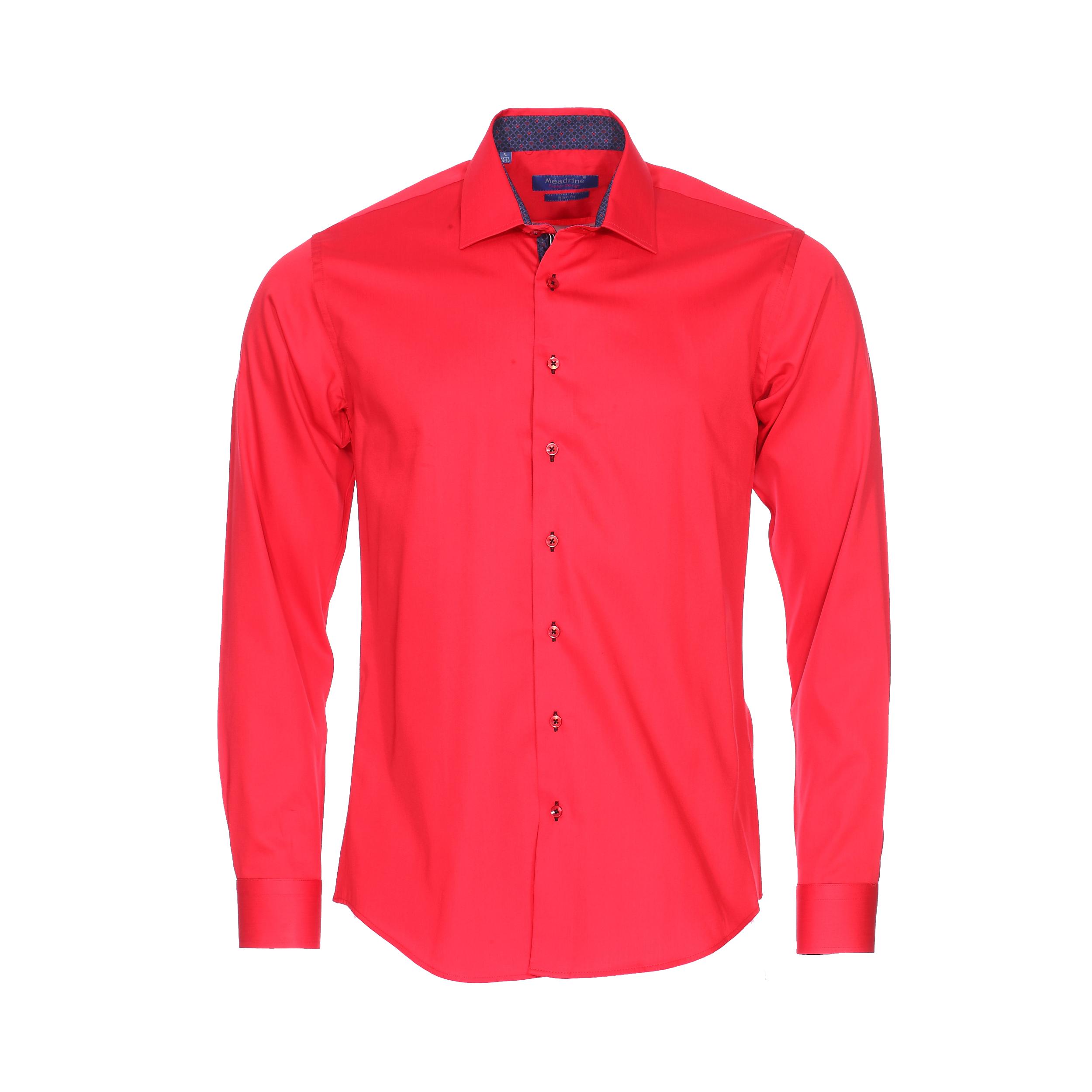 Chemise cintrée  en coton rouge à opposition violette à motifs géométriques noirs et rouges