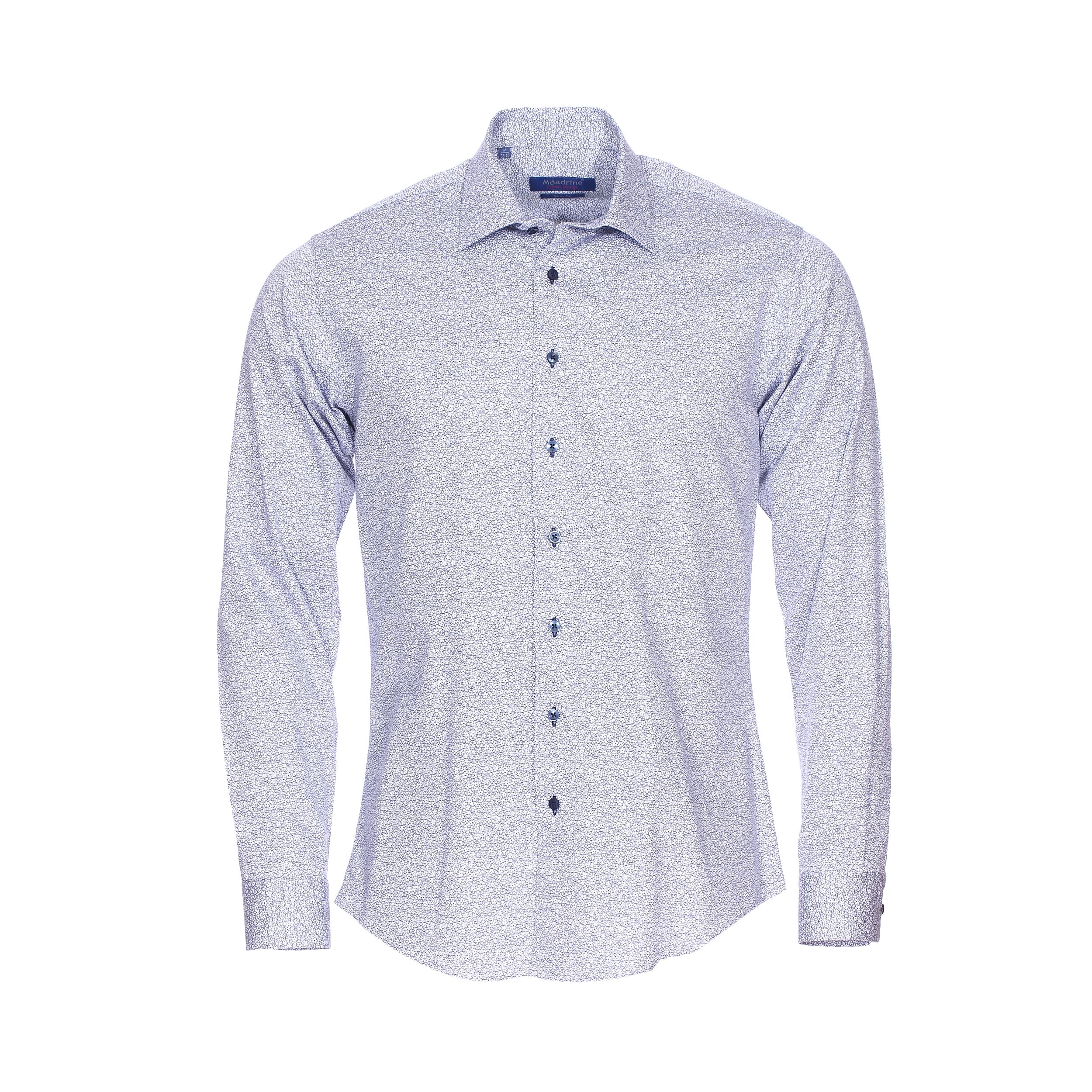 Chemise cintrée  en coton blanc à fleurs bleu marine