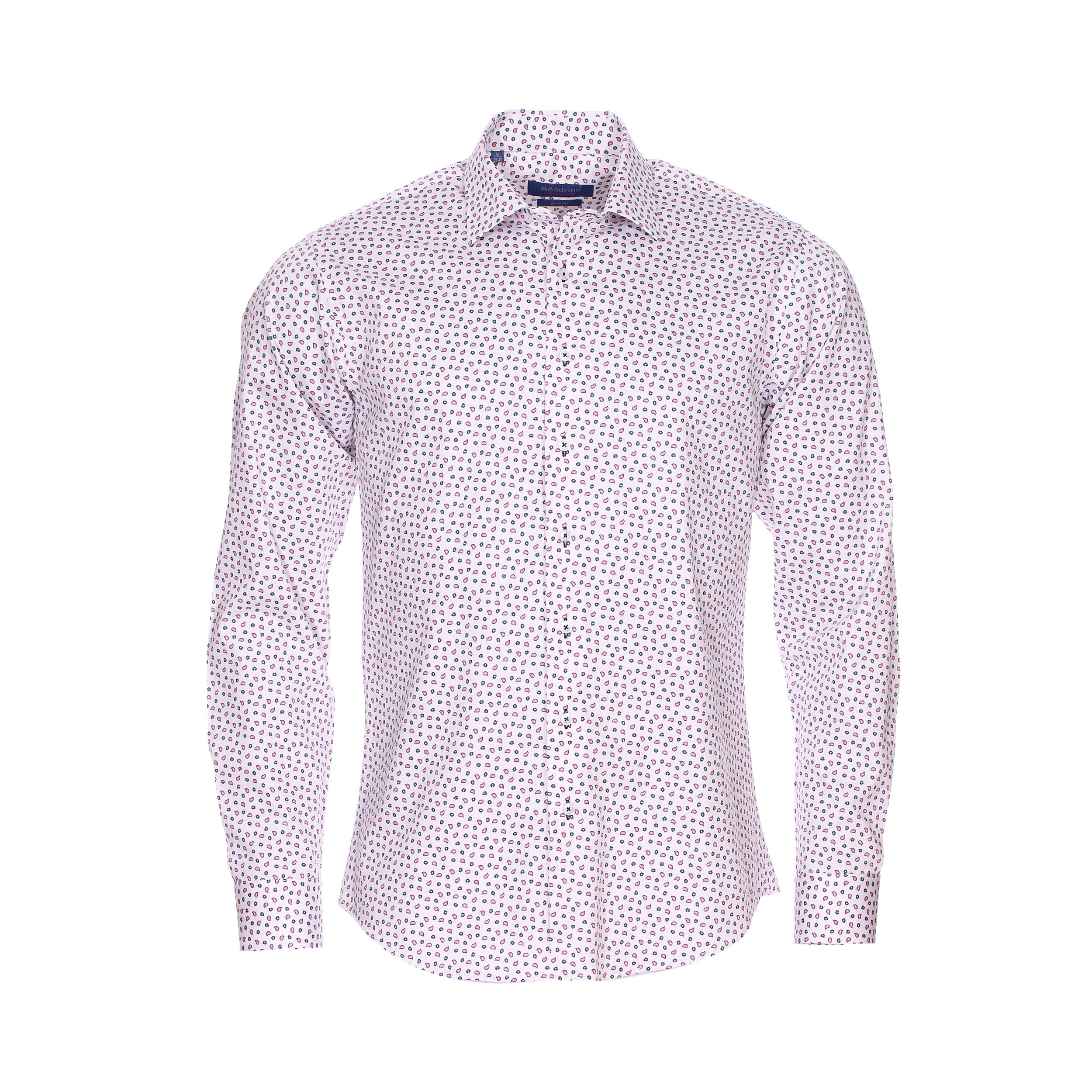 Chemise cintrée  en coton blanc à motifs cachemires rouges et bleus