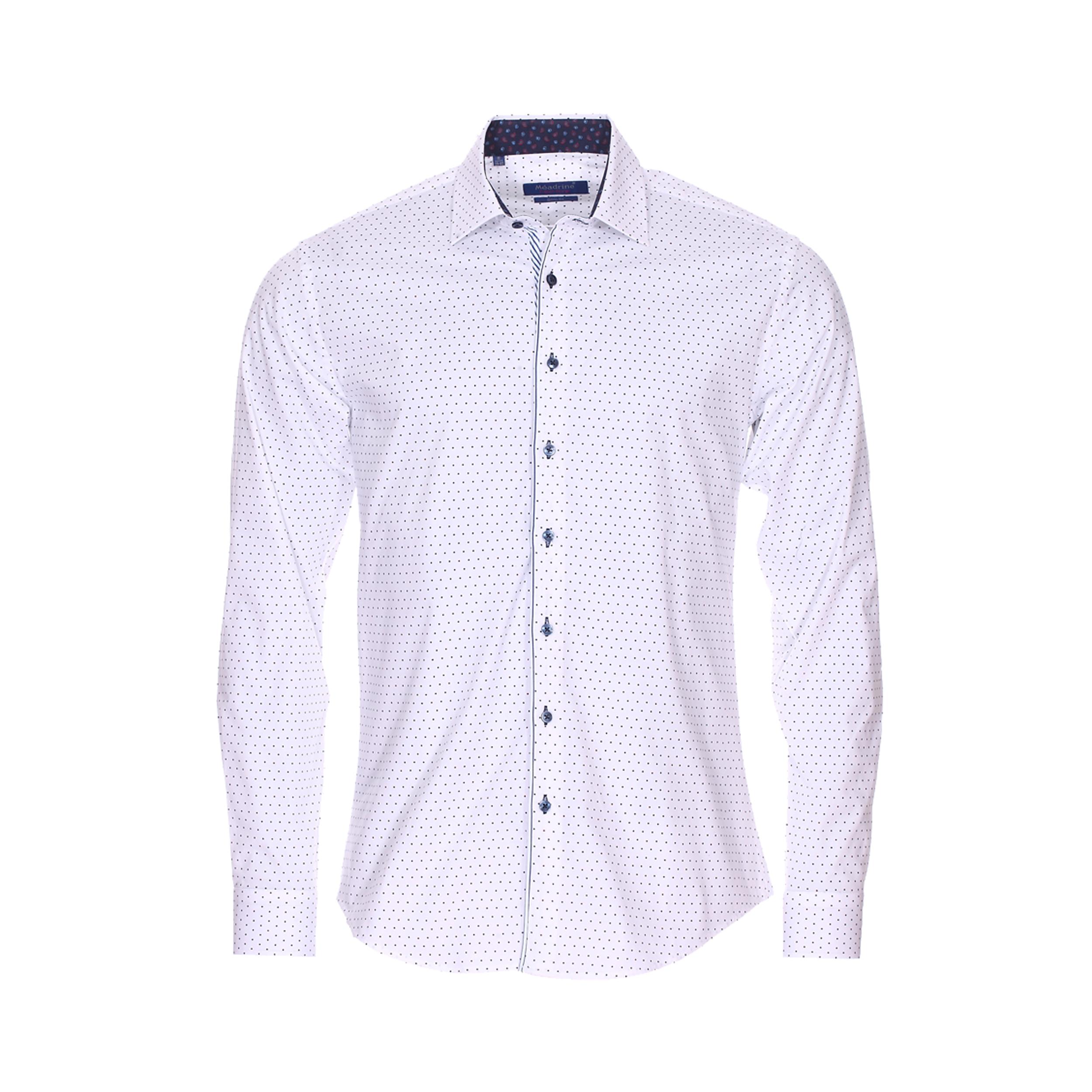 Chemise cintrée  en coton blanc à pois bleu marine et rouges