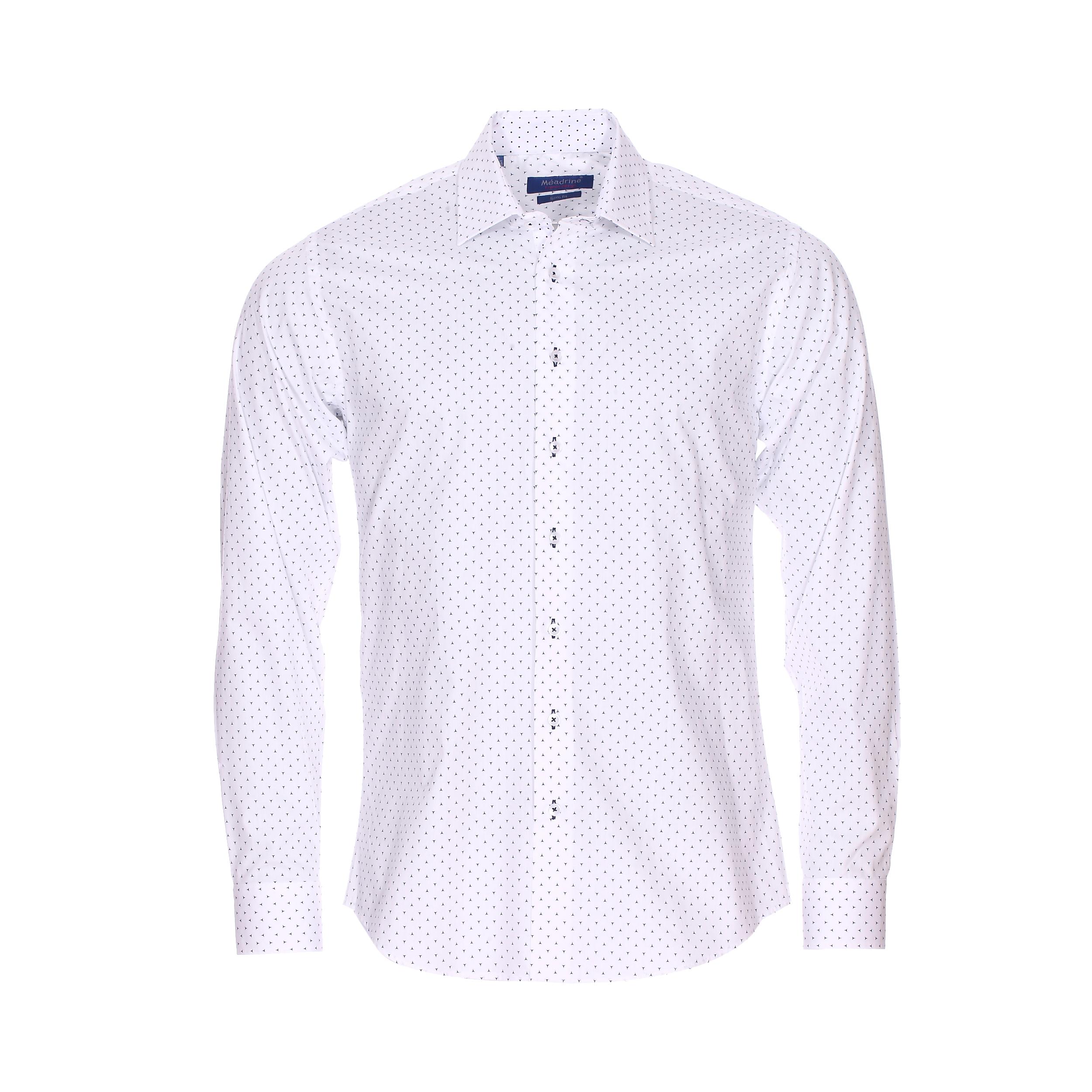 Chemise cintrée  en coton blanc à motifs étoiles à 3 pointes bleu marine