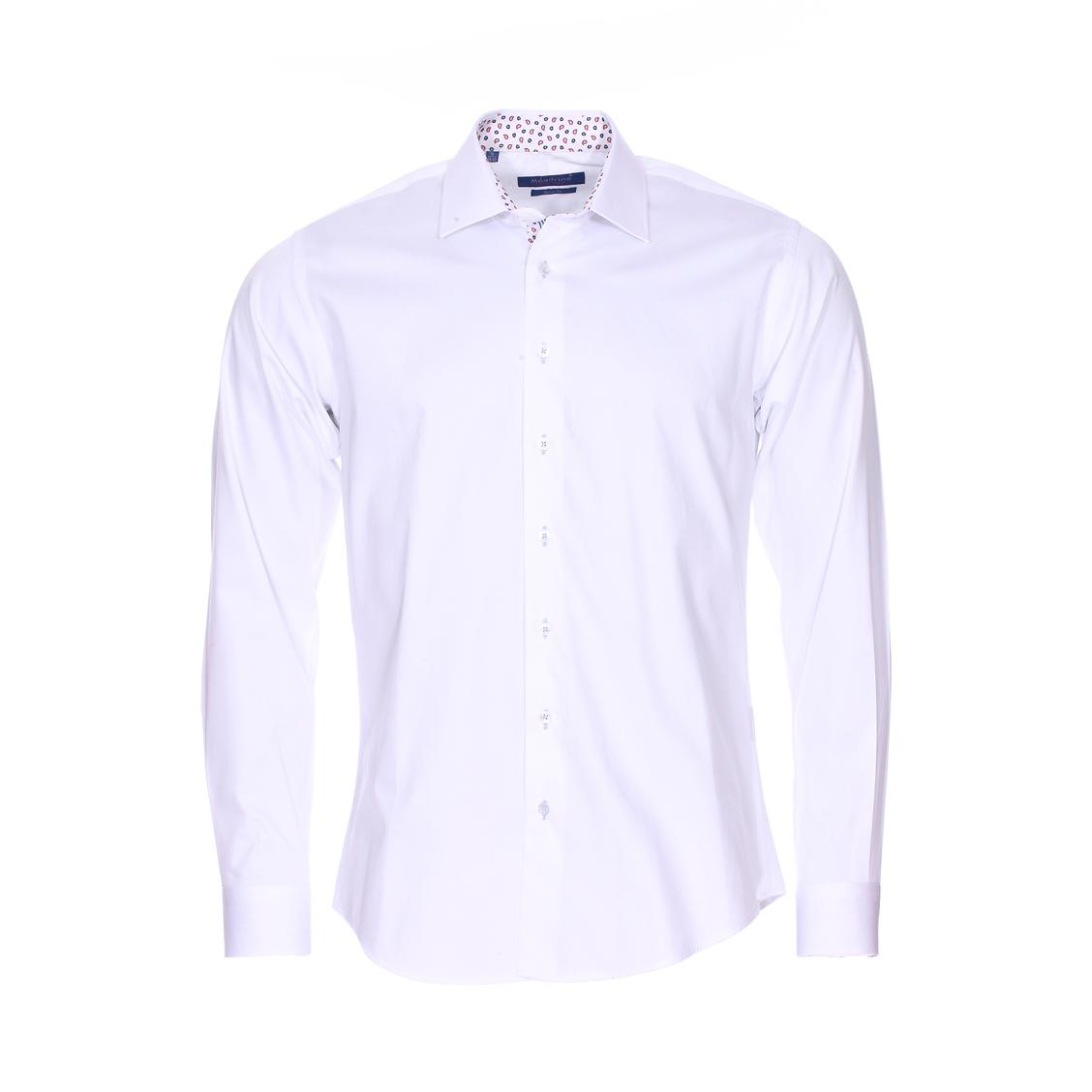 Chemise cintrée  en coton blanc à opposition à motifs cachemires rouges et bleu marine