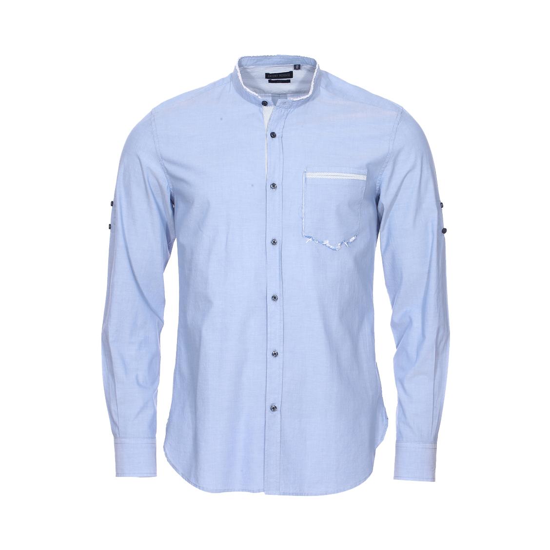 Chemise cintrée Antony Morato en coton bleu indigo à col mao