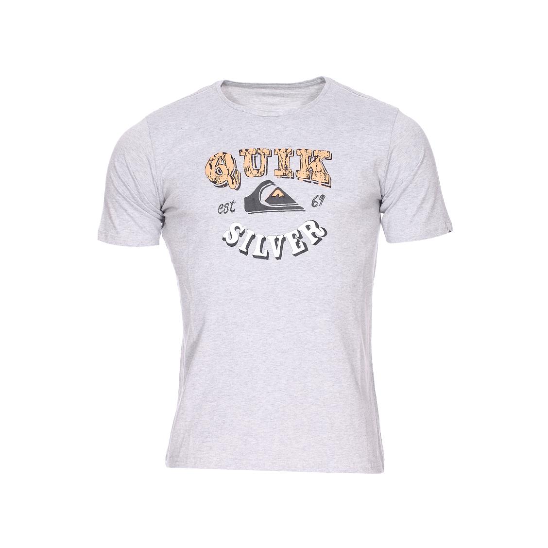 Tee-shirt col rond  classic pahu pia en jersey de coton gris chiné floquée
