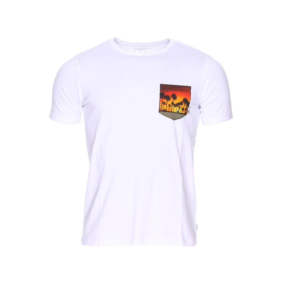 Tee-shirt col rond  classic quadro glide en jersey de coton blanc à fausse poche poitrine