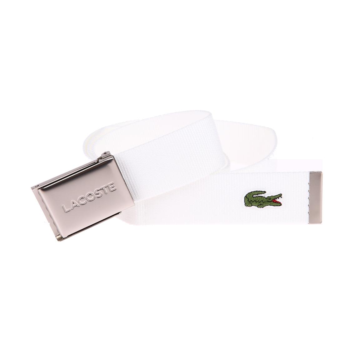 Ceinture ajustable Lacoste en tissu blanc à boucle pleine gravée