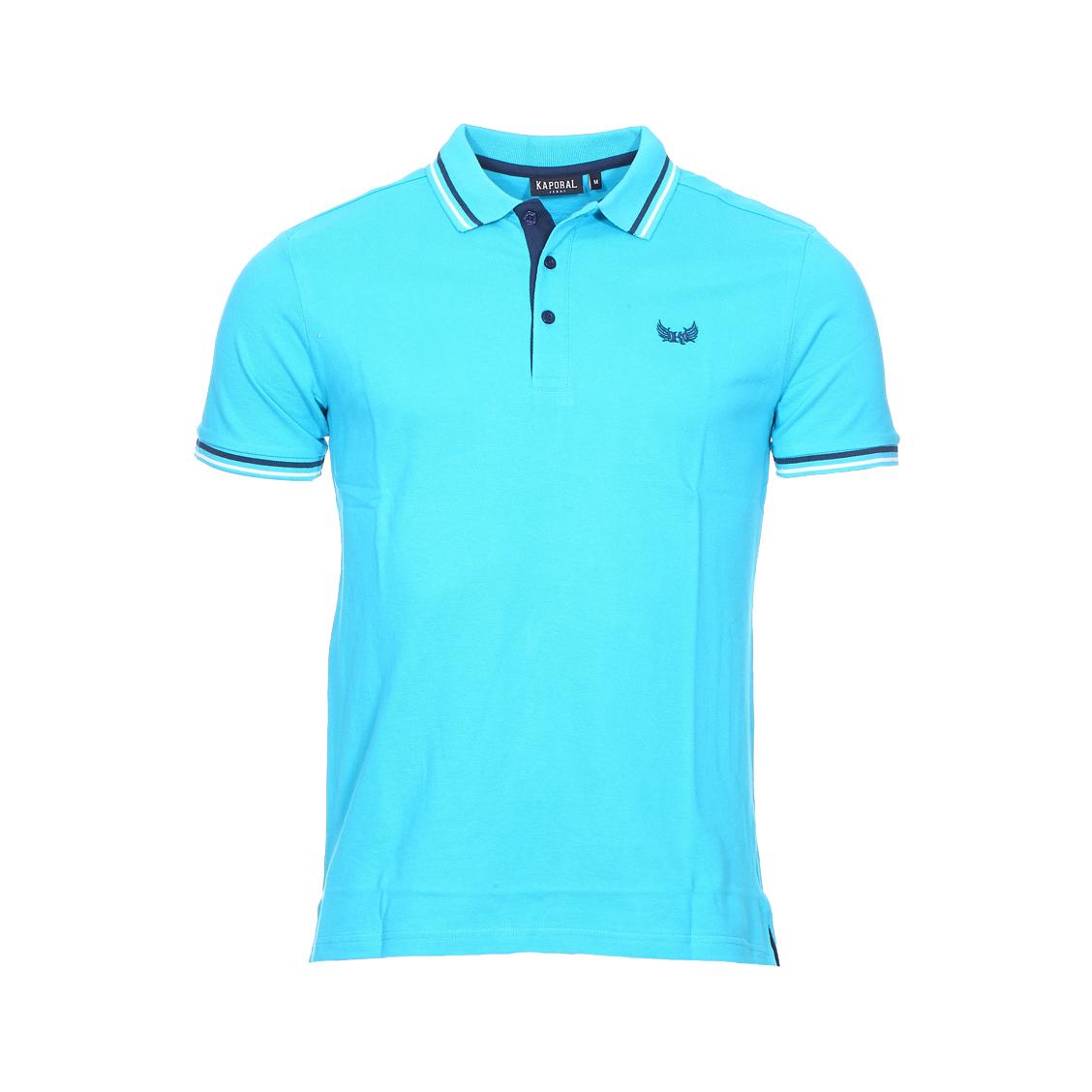 Polo  basoc en coton bleu turquoise