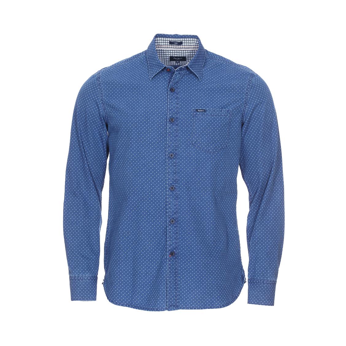 Chemise cintrée  kaoru bleu indigo à motifs blancs