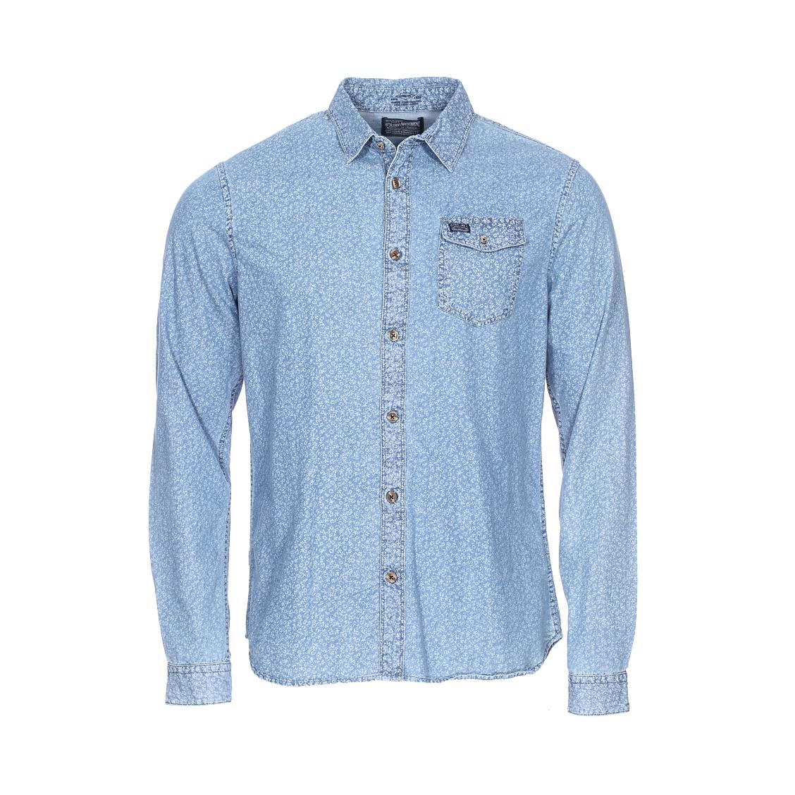 Chemise ajustée  en coton bleu indigo clair à motifs fleurs blanches
