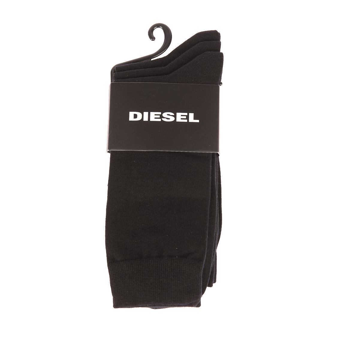Lot de 3 chaussettes diesel en coton et polyamide stretch noir