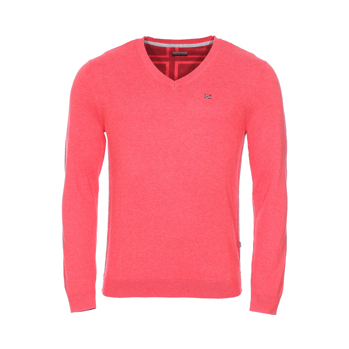Pull col v  decatur en coton corail