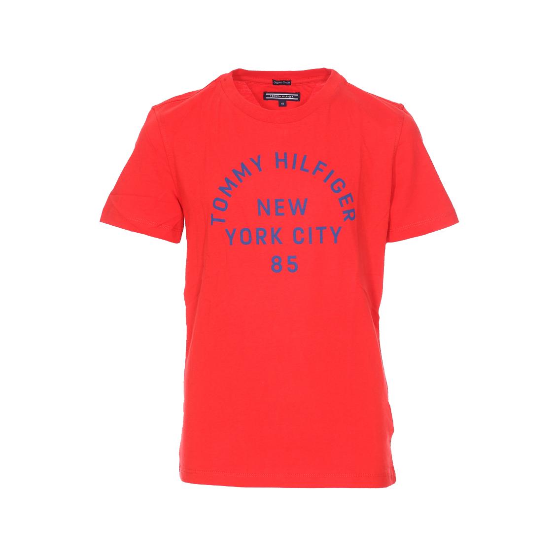 Tee-shirt col rond  ame bright graphic en coton biologique rouge floqué
