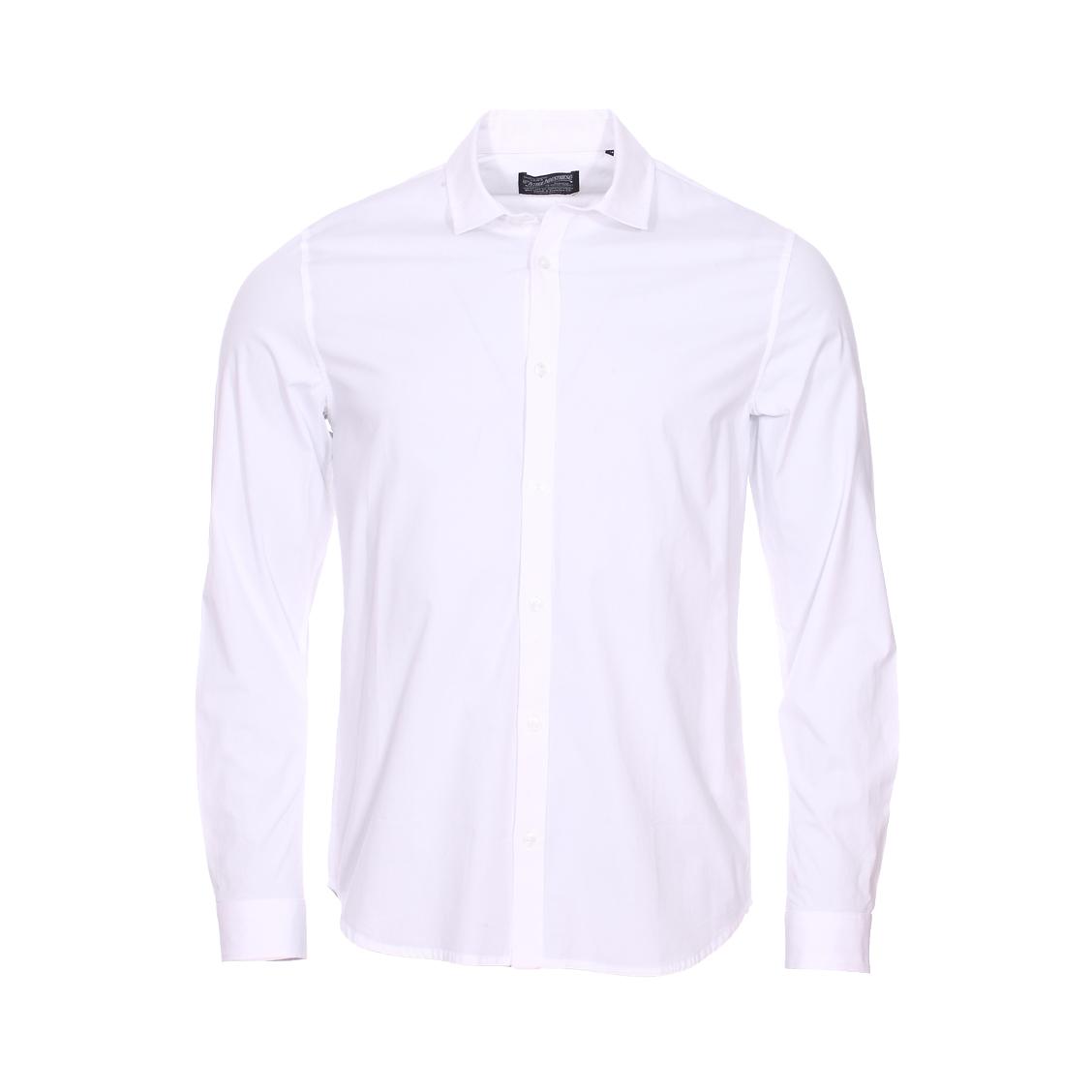 Chemise ajustée  en coton stretch blanc
