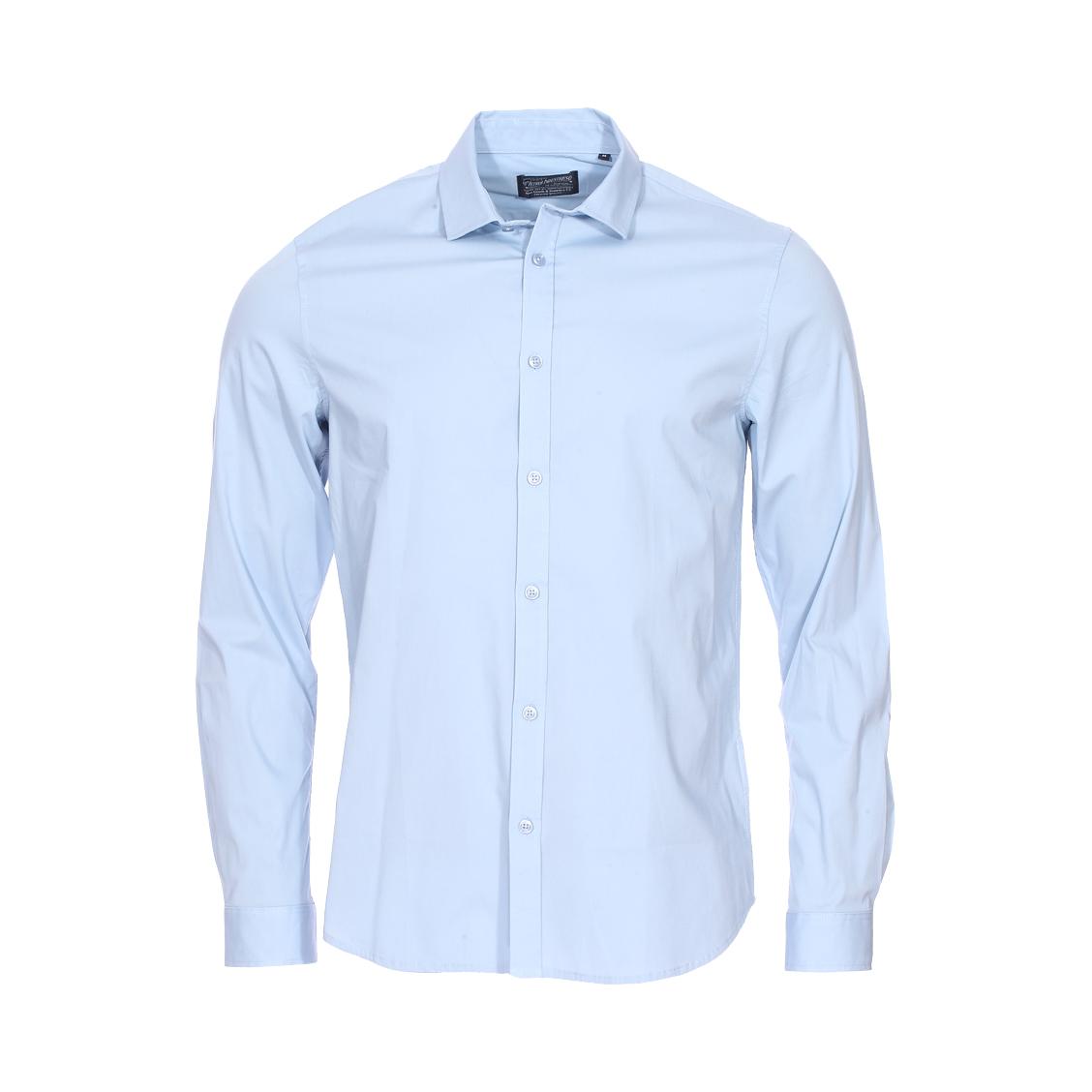 Chemise ajustée  en coton stretch bleu ciel
