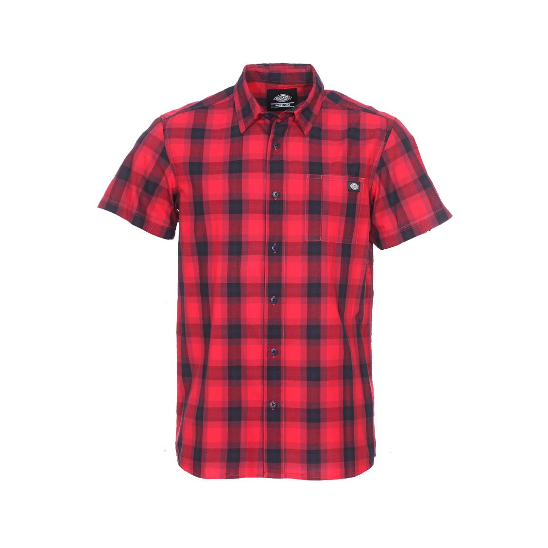 Chemise manches courtes  bryson en coton à carreaux rouges et bleu marine