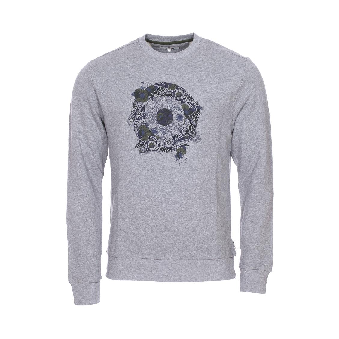 Sweat col rond  psychedelic floral target en coton gris chiné