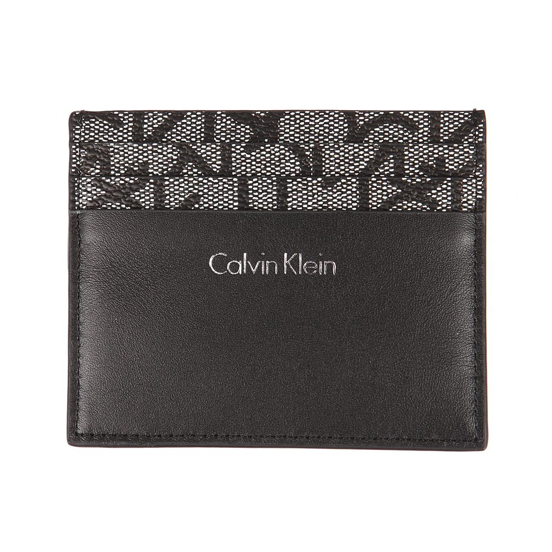 Porte-cartes calvin klein jeans greg mono noir monogrammé