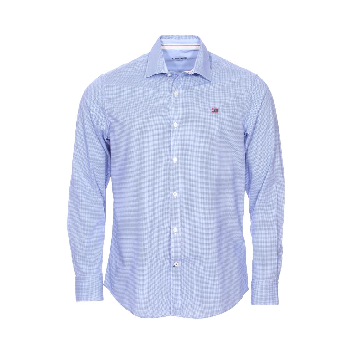 Chemise droite  garoh en coton bleu à petits carreaux