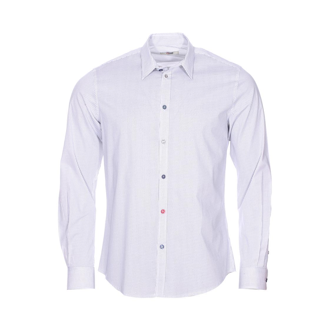 Chemise cintrée Gaudi en coton stretch blanc à rayures bleu marine
