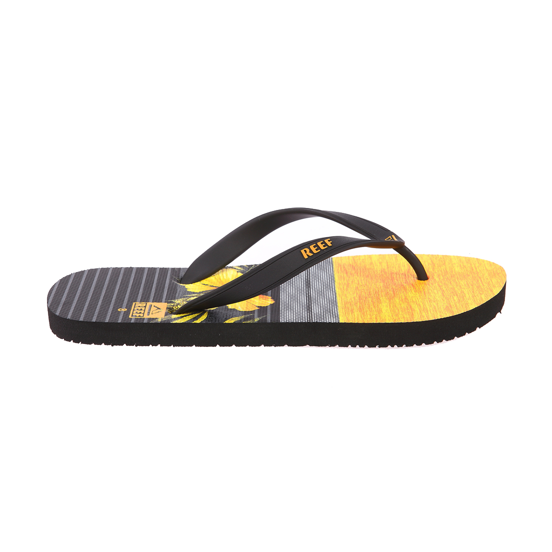 Tongs  switchfoot jaunes et noires à motifs fleurs