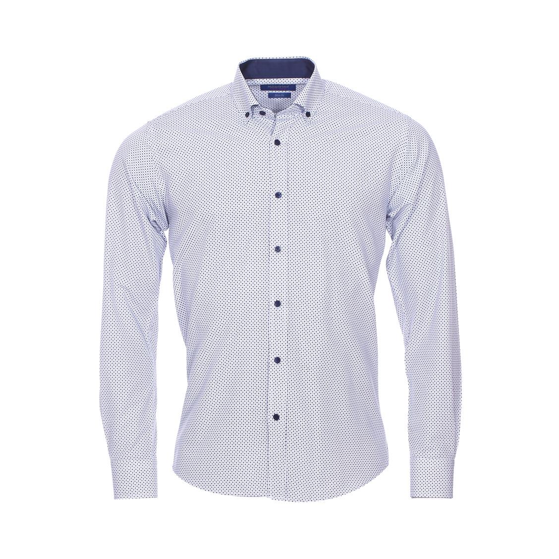 Chemise cintrée  en coton blanc à petits carreaux bleu marine