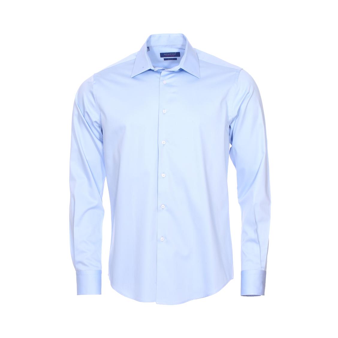 Chemise cintrée  en coton bleu ciel à col évasé