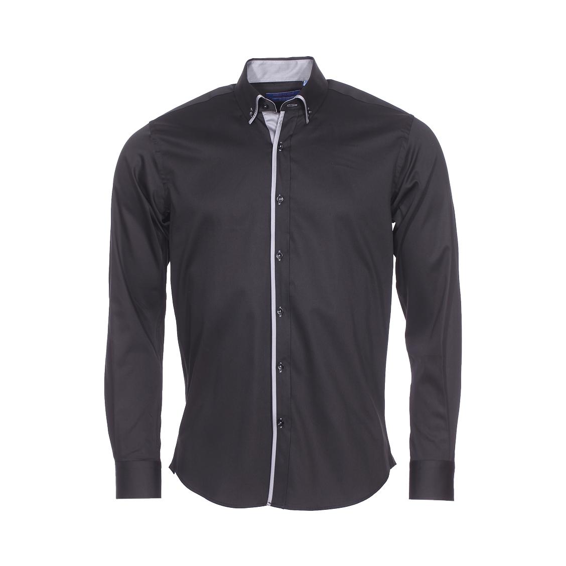 Chemise cintrée  en coton noir à opposition gris anthracite