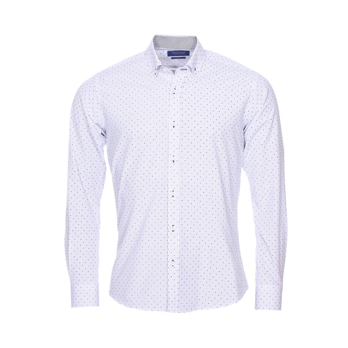 Chemise cintrée  en coton blanc à motifs bleu roi, gris et noirs