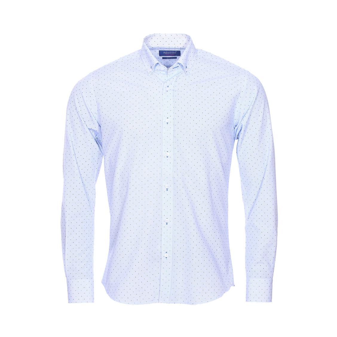 Chemise cintrée  en coton blanc à motifs bleus et noirs