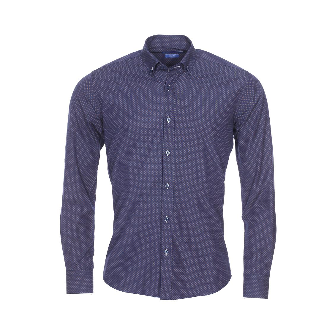 Chemise cintrée  en coton bleu marine à motifs marron foncé