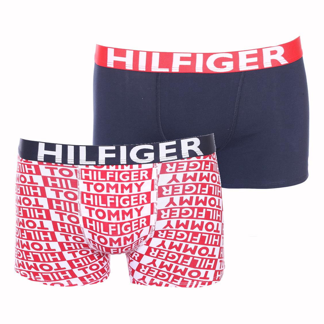 Lot de 2 boxers  en coton stretch bleu marine et blanc monogrammé en rouge