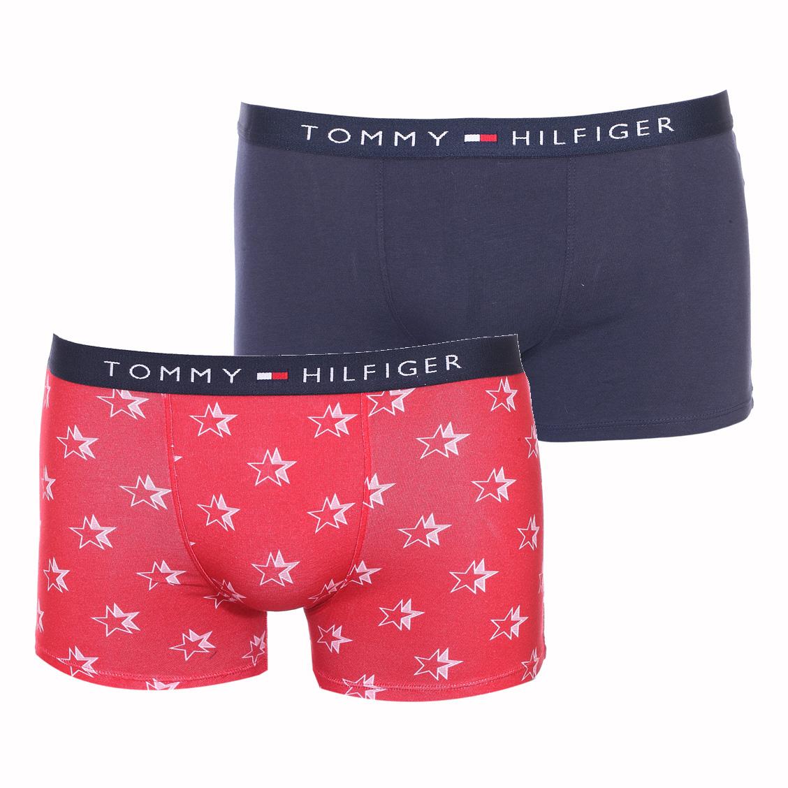 Lot de 2 boxers  en coton stretch bleu marine et rouge à étoiles blanches