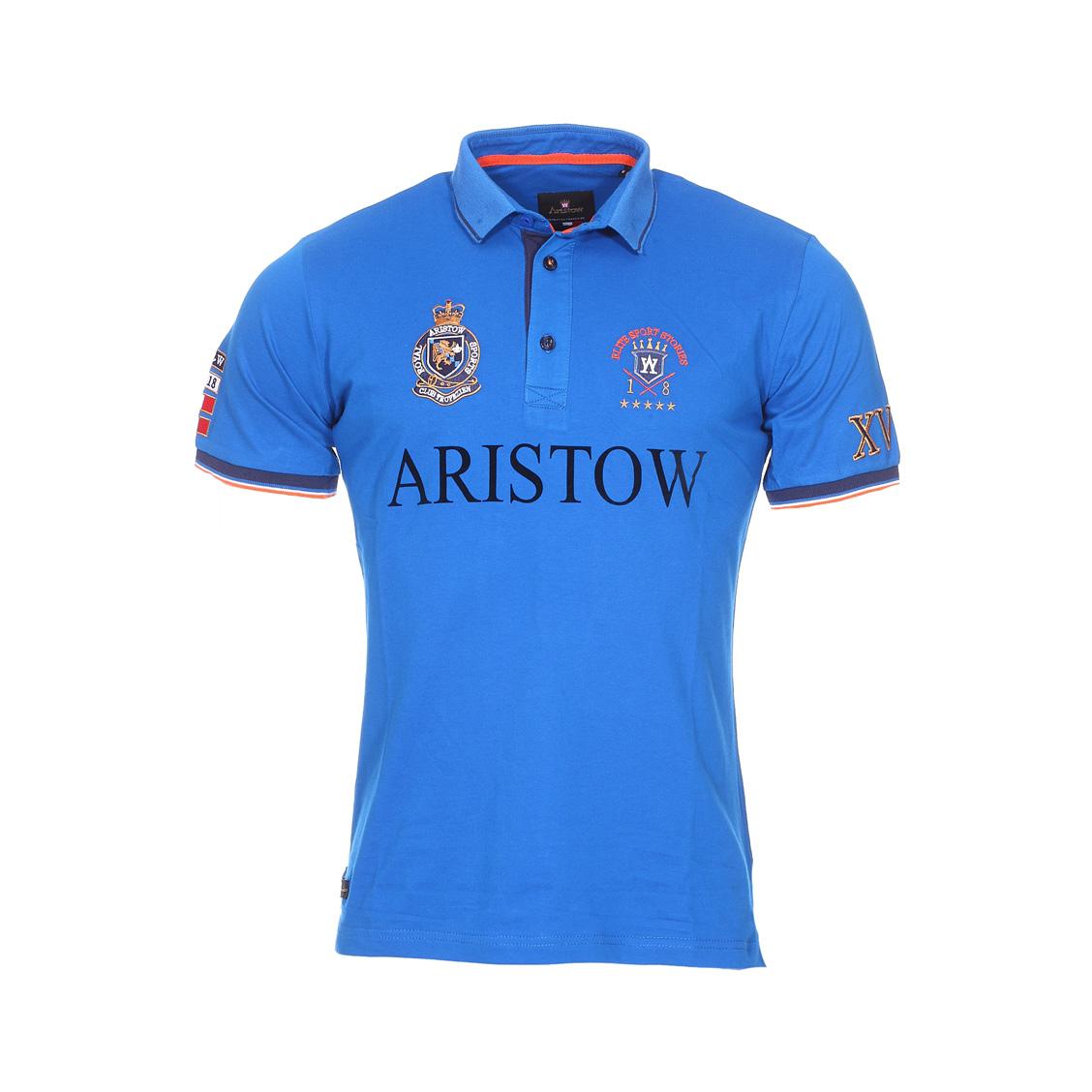 Polo Aristow Héritage en piqué de coton stretch bleu roi