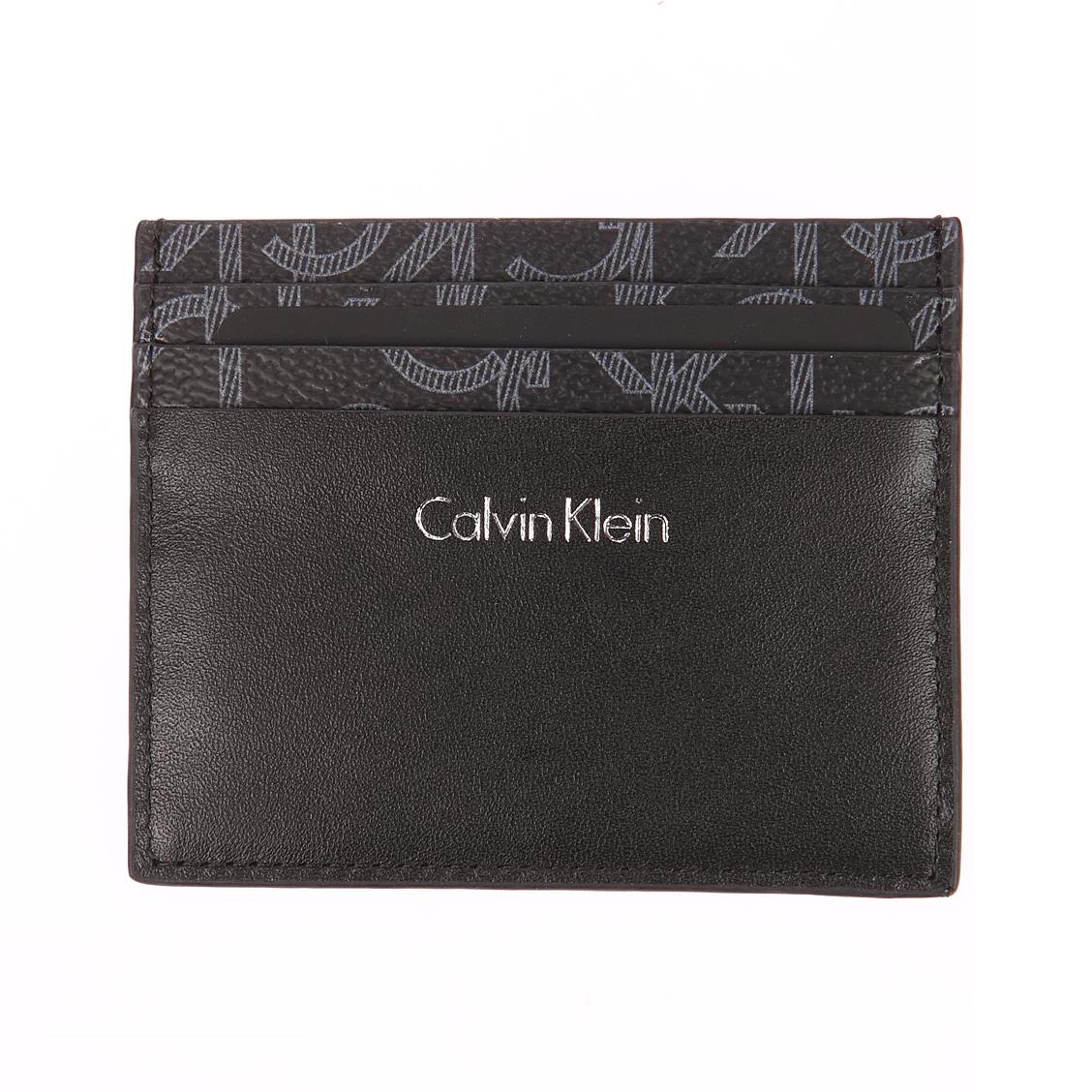 Porte-cartes calvin klein jeans greg mono noir monogrammé en gris