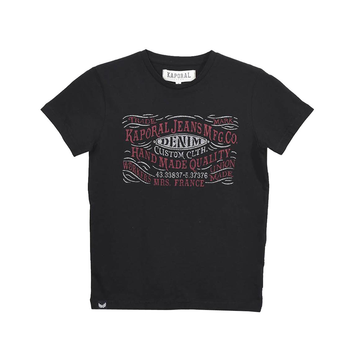 Tee-shirt col rond  raker en coton noir