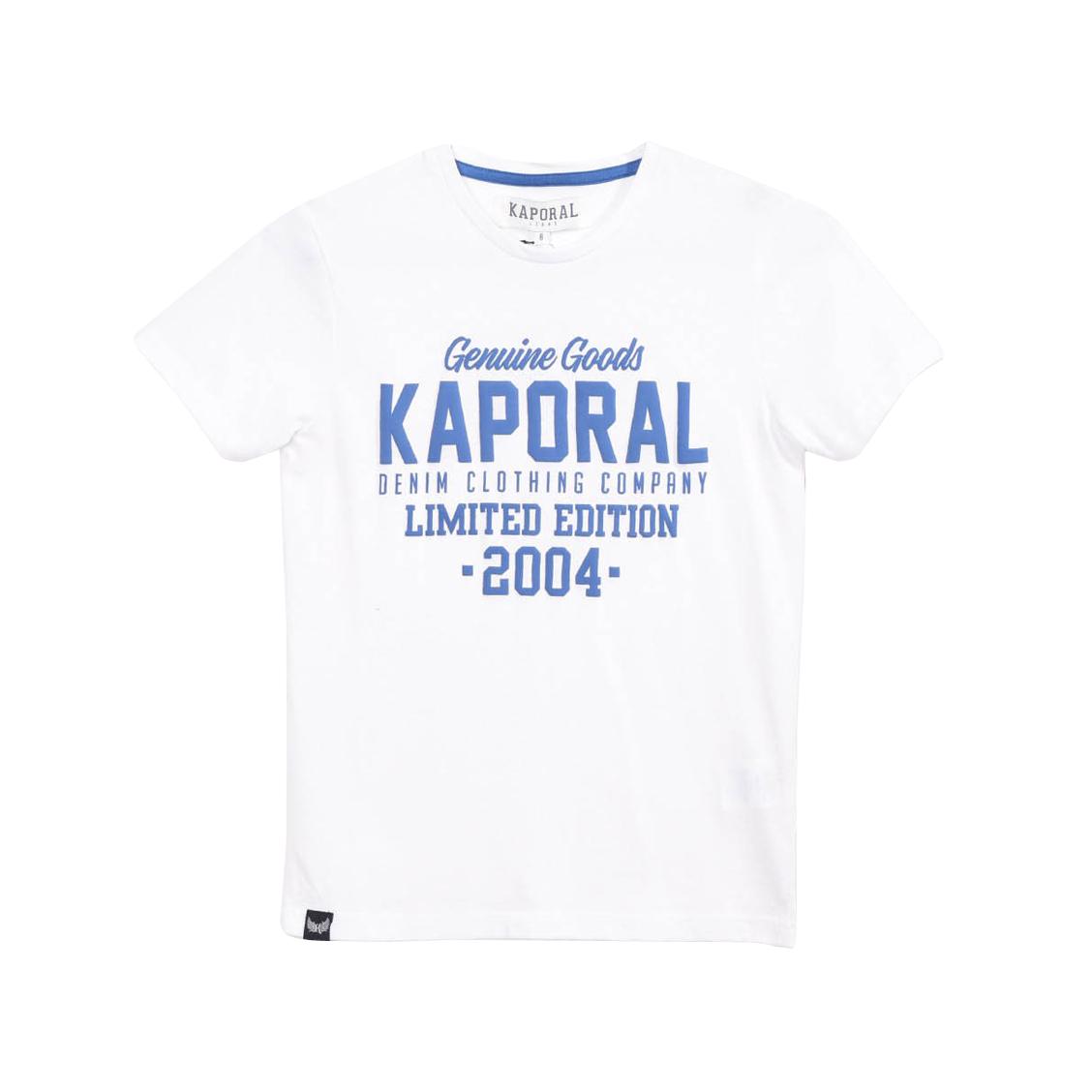Tee-shirt col rond  ruff en coton mélangé blanc à imprimé texturé bleu