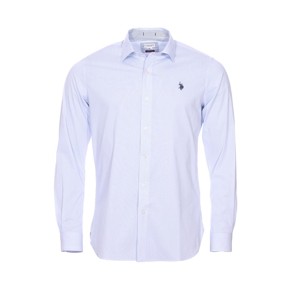 Chemise cintrée U.S. Polo Assn. Octavi en coton stretch blanc à fines rayures bleu ciel
