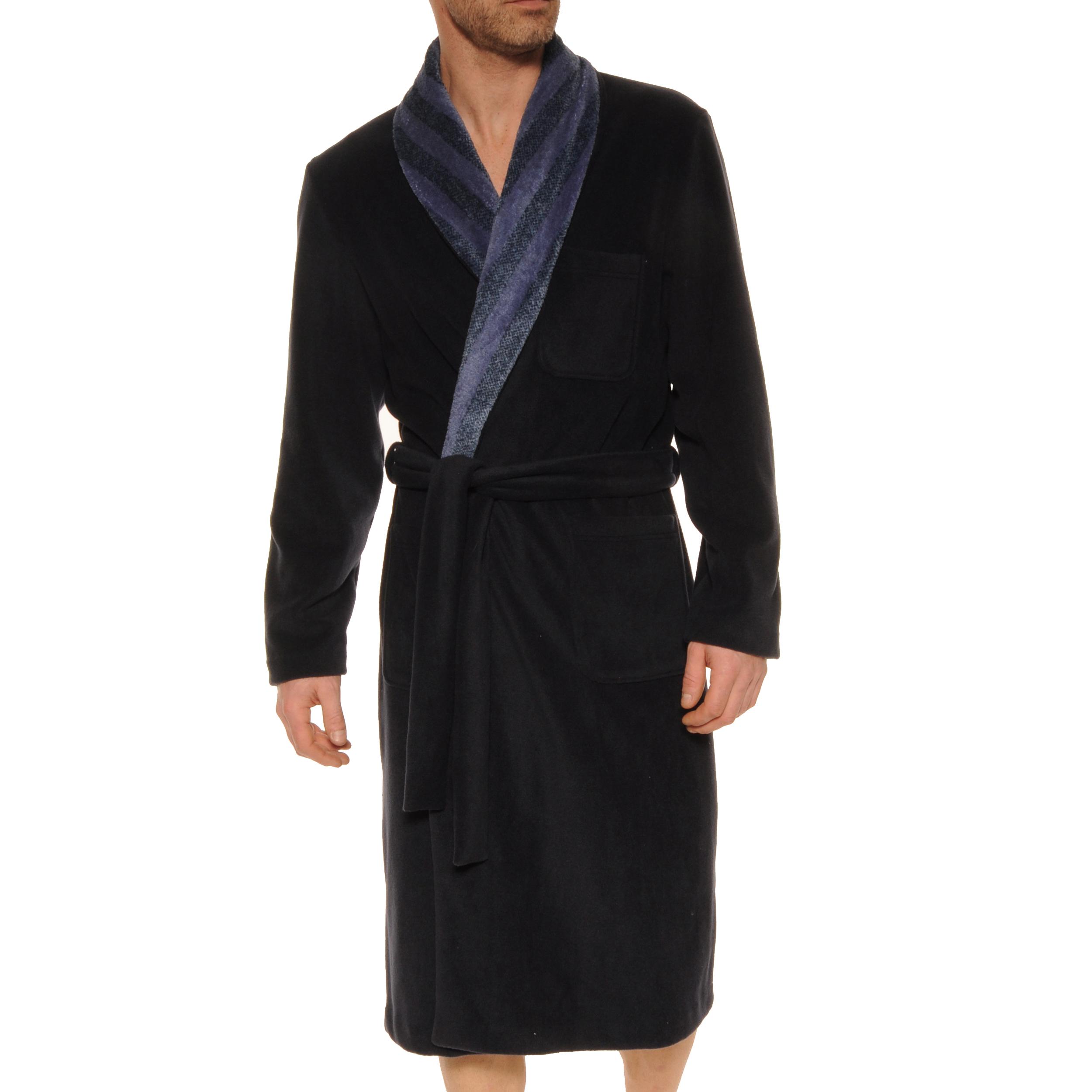 Robe de chambre Christian Cane Kristian en velours bleu marine à col châle bleu indigo à rayures