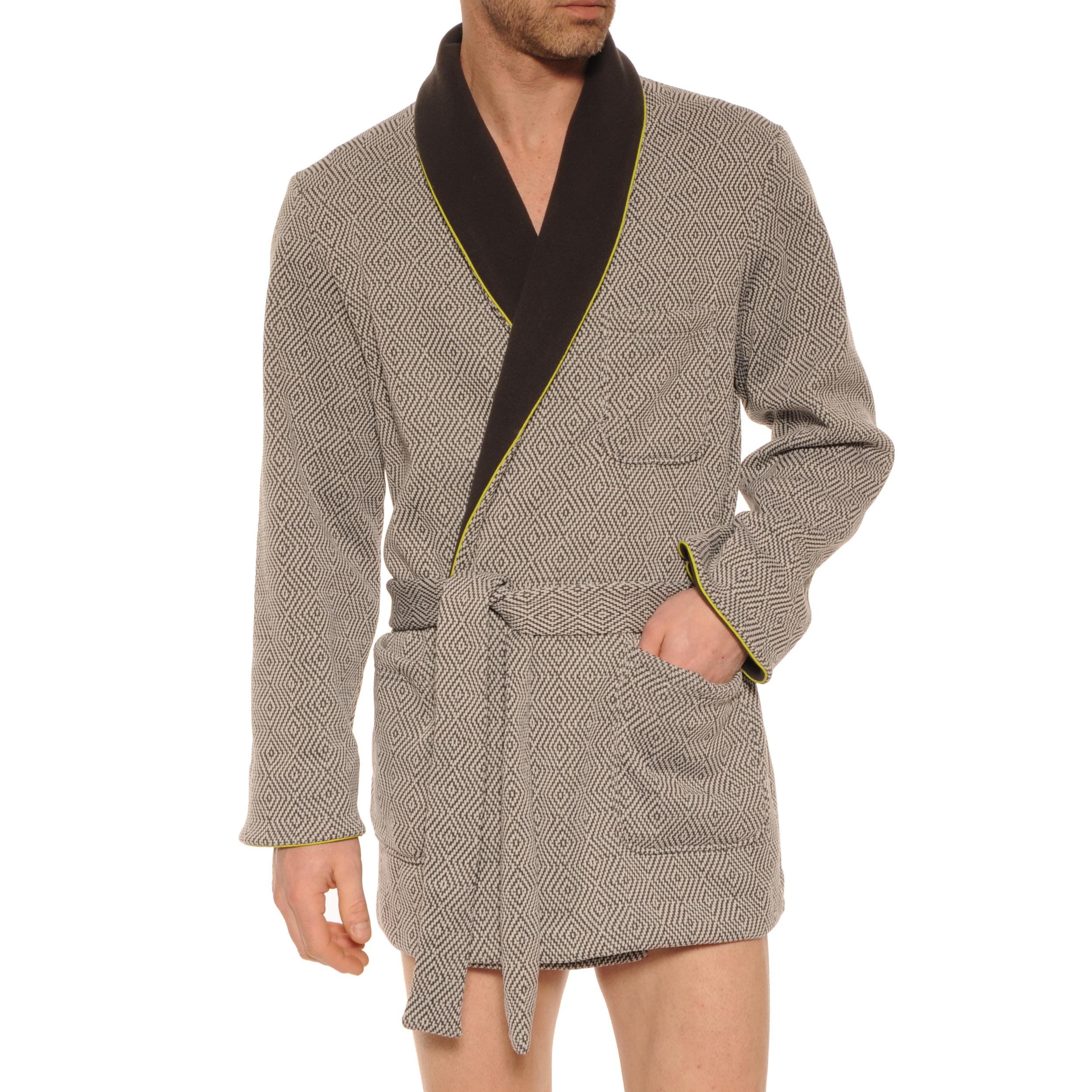 Veste d'intérieur Christian Cane Ken gris à motifs et col châle gris anthracite