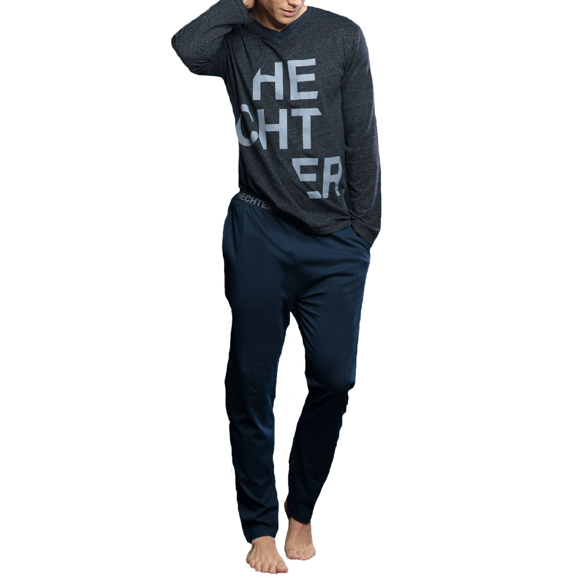Pyjama long Hechter Studio Fusio : tee-shirt manches longues col V anthracite chiné moucheté et pantalon bleu marine