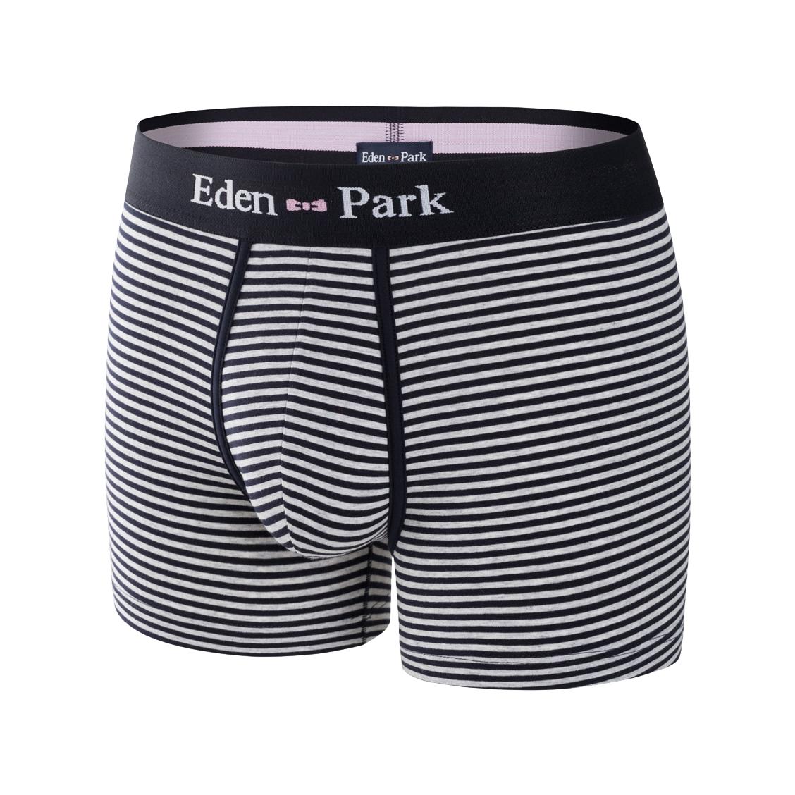 Boxer eden park en coton stretch à rayures bleu marine et gris chiné