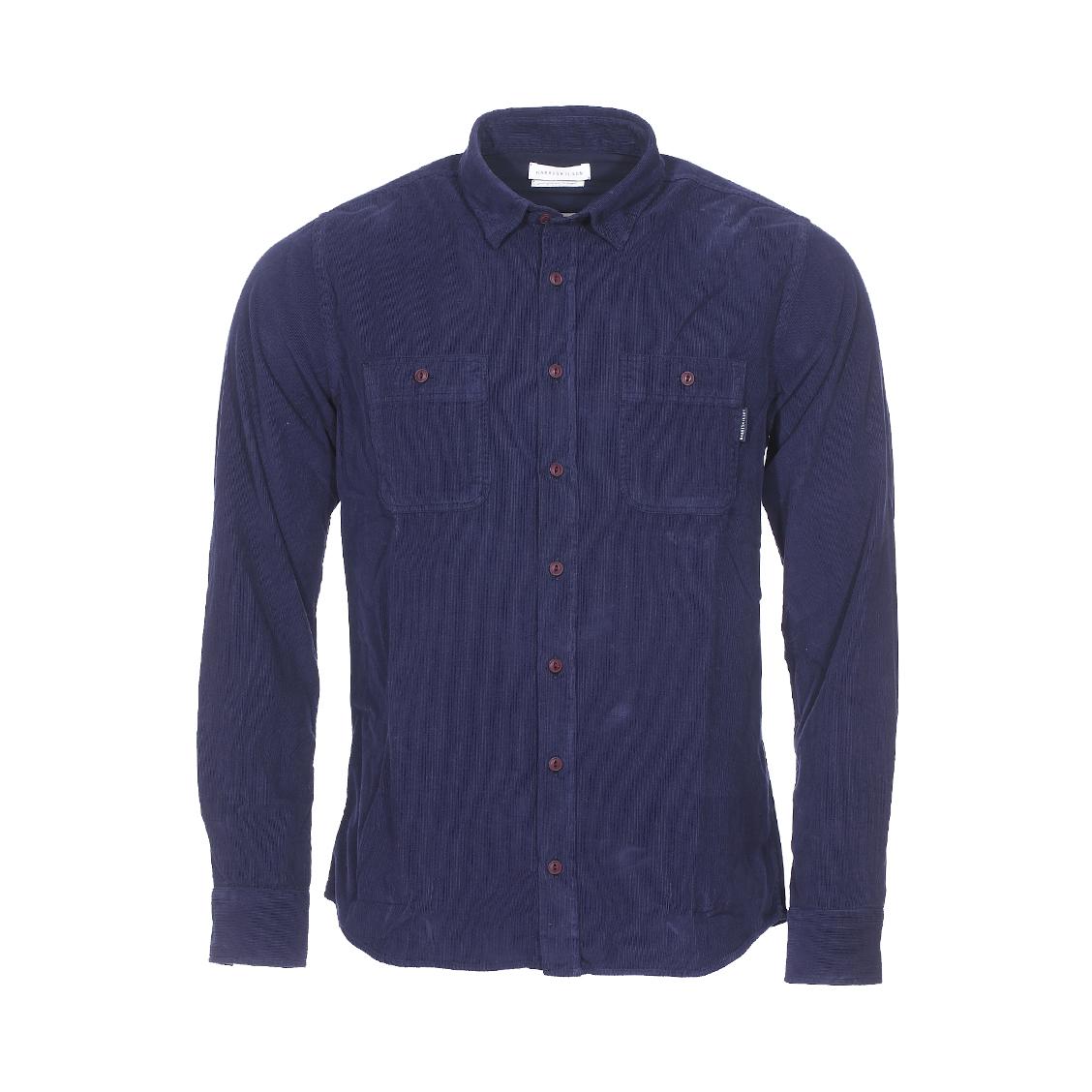 Chemise droite Harris Wilson Declan en velours côtelé bleu marine