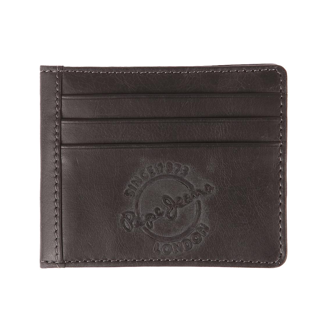 Porte-cartes italien 2 volets  en cuir noir