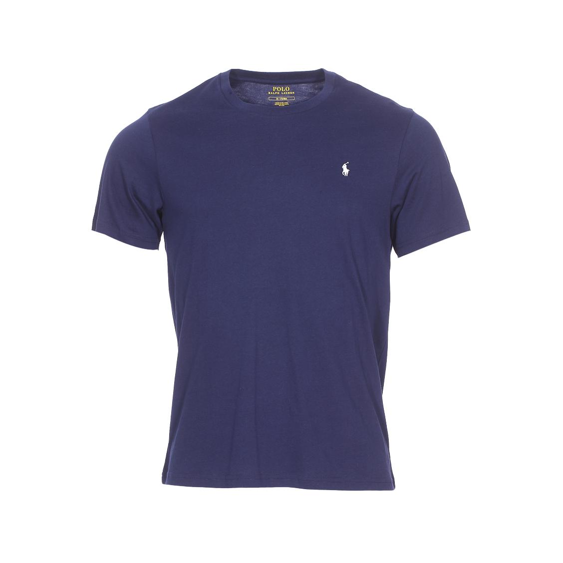 Tee-shirt col rond  en coton bleu marine à logo blanc brodé