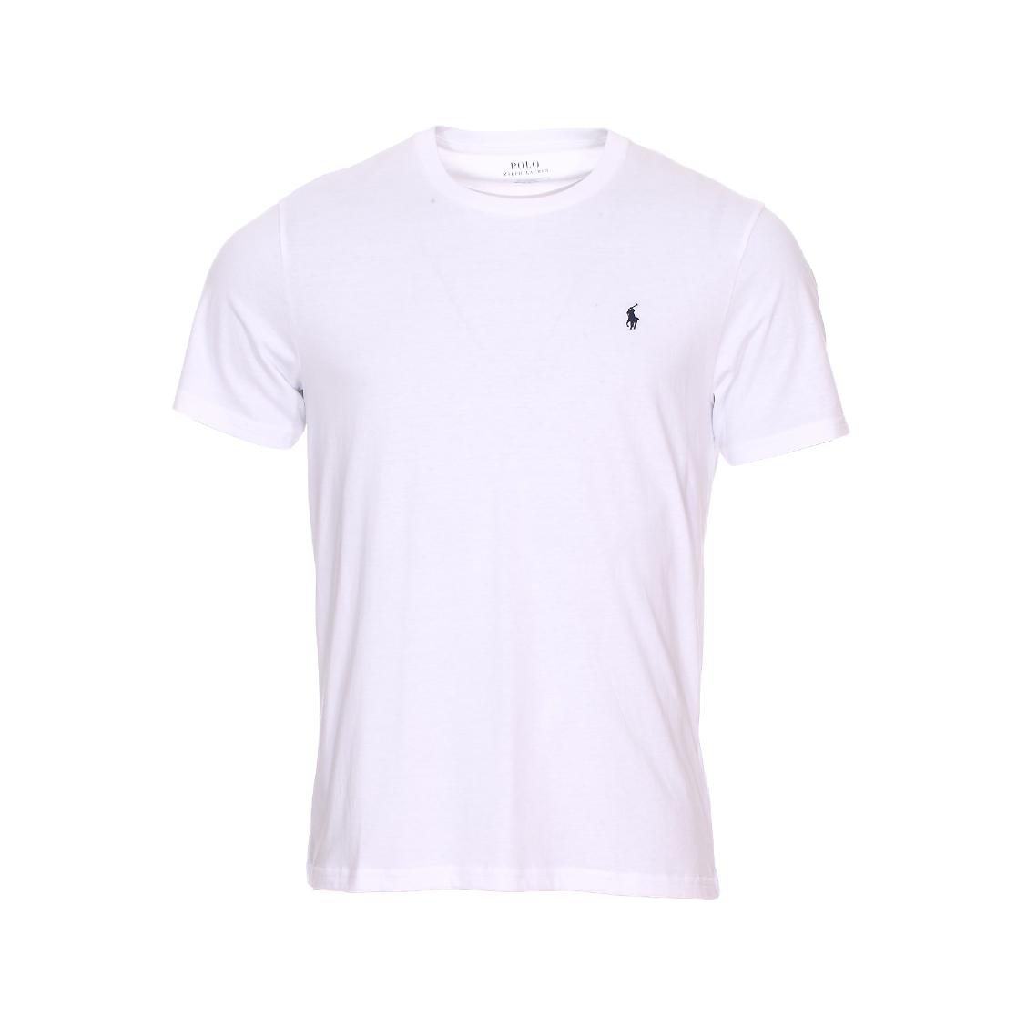 Tee-shirt col rond  en coton blanc à logo bleu marine brodé