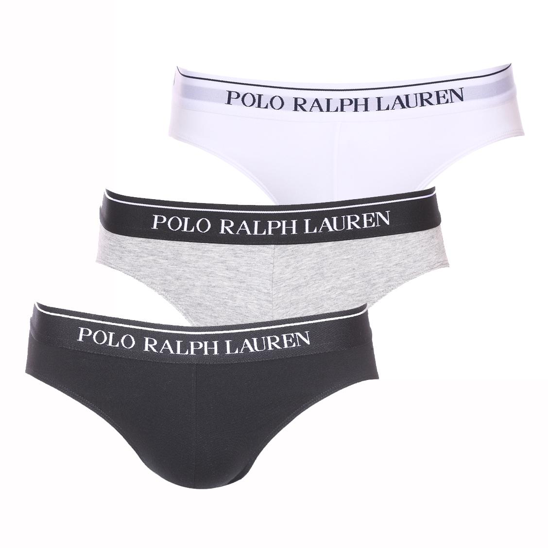 Lot de 3 slips taille basse  en coton stretch noir, gris chiné et blanc