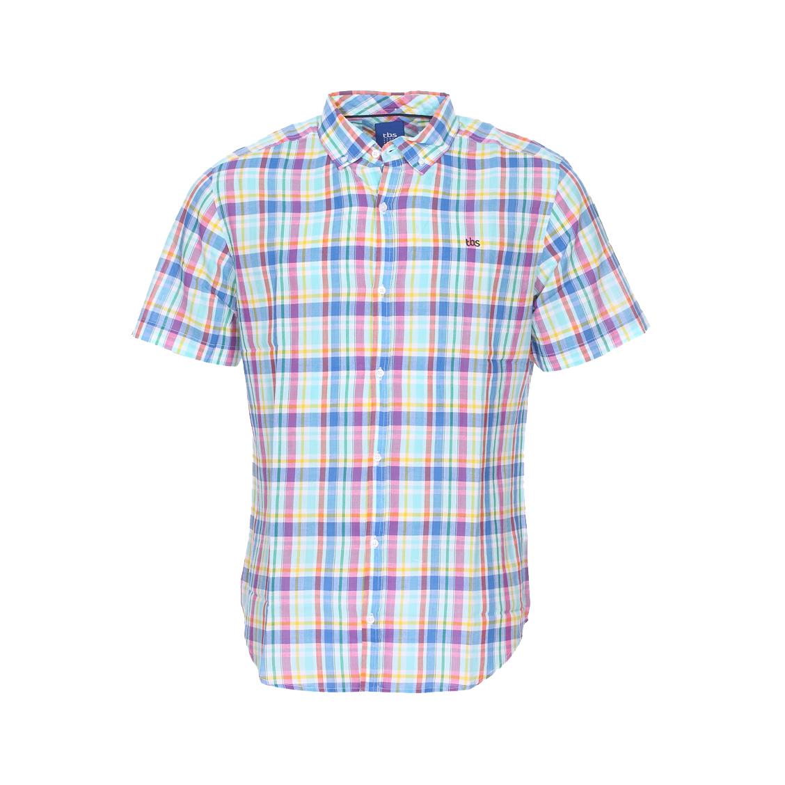 Chemise ajustée manches courtes  en coton léger à carreaux multicolores