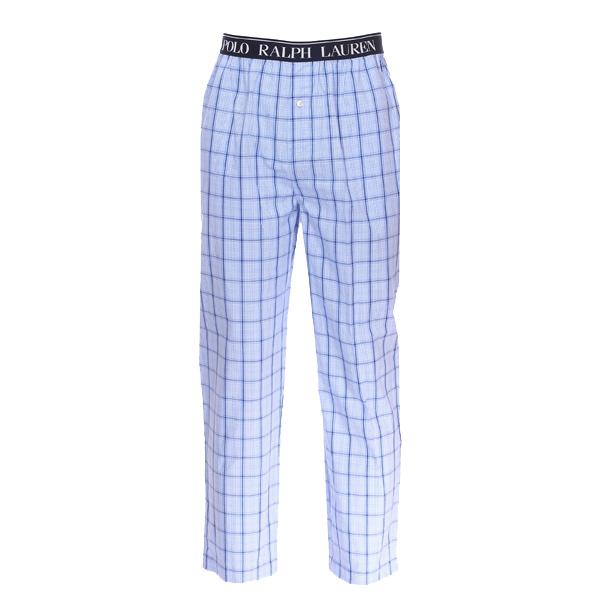 Pantalon de pyjama  en popeline de coton bleu ciel à carreaux bleu marine et blancs